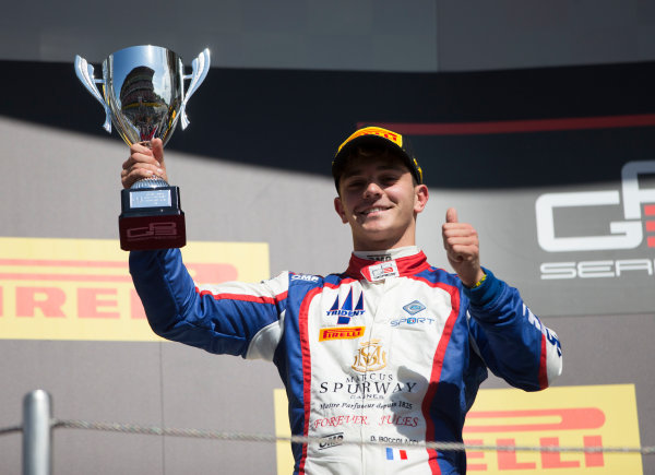 2017 GP3 Series Round 1.  Circuit de Catalunya, Barcelona, Spain. Sunday 14 May 2017. Dorian Boccolacci (FRA, Trident) celebrates his second position in Race Two  Photo: Jed Leicester/GP3 Series Media Service. ref: Digital Image JL1_0157