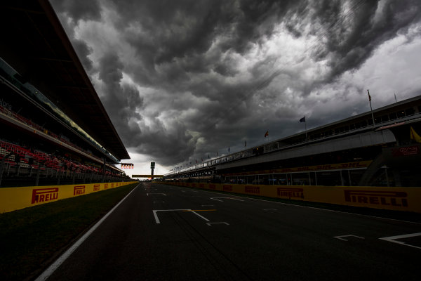 2017 GP3 Series Round 1.  Circuit de Catalunya, Barcelona, Spain. Thursday 11 May 2017. A view of the circuit with stormy skies above. Photo: Zak Mauger/GP3 Series Media Service. ref: Digital Image _56I6697