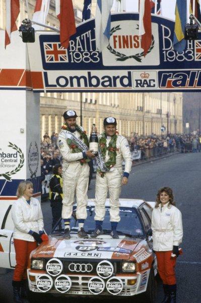 1983 World Rally Championship.Lombard RAC Rally, Great Britain. 19-23 November 1983.Stig Blomqvist/Bjorn Cederberg (Audi Quattro A2), 1st position. Podium.World Copyright: LAT PhotographicRef: 35mm transparency 83RALLY17