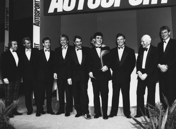 1992 Autosport Awards. Grosvenor House Hotel, Park Lane, London. 6th December 1992. Dario Franchitti wins the Autosport Young Driver of the Year award and lines up with a host of British World Champions, portrait.  World Copyright: LAT Photographic. Ref:  B/W Print.