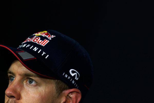 Marina Bay Circuit, Singapore. Sunday 22nd September 2013.  Sebastian Vettel, Red Bull Racing, in the post race press conference.  World Copyright: Charles Coates/LAT Photographic. ref: Digital Image _N7T8234