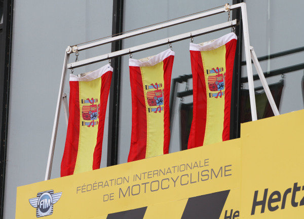 British Grand Prix.  Silverstone, England. 30th August - 1st September 2013.  Spanish flags above all three riders on the podium.  Ref: IMG_2509a. World copyright: Kevin Wood/LAT Photographic