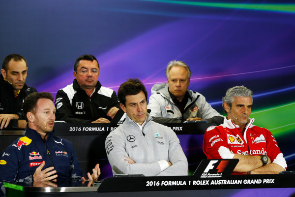 Albert Park, Melbourne, Australia. Friday 18 March 2016. Christian Horner, Team Principal, Red Bull Racing, Cyril Abiteboul, Managing Director, Renault Sport F1, Toto Wolff, Executive Director (Business), Mercedes AMG, Eric Boullier, Racing Director, McLaren, Mauricio Arrivabene, Team Principal, Ferrari, and Gene Haas, Team Owner, Haas F1, in the Team Principals Press Conference. World Copyright: Andrew Hone/LAT Photographic ref: Digital Image _ONY2821