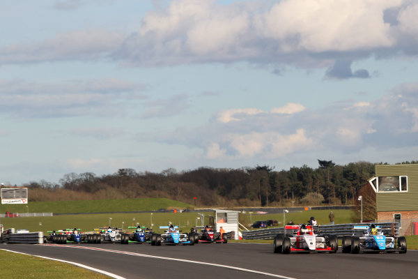 2016 BRDC British Formula 3 Championship, Snetterton, Norfolk. 27th - 28th March 2016. Start of Race 3 Enaam Ahmed (GBR) Douglas Motorsport BRDC F3 leads Toby Sowery (GBR) Lanan Racing BRDC F3.  World Copyright: Ebrey / LAT Photographic.