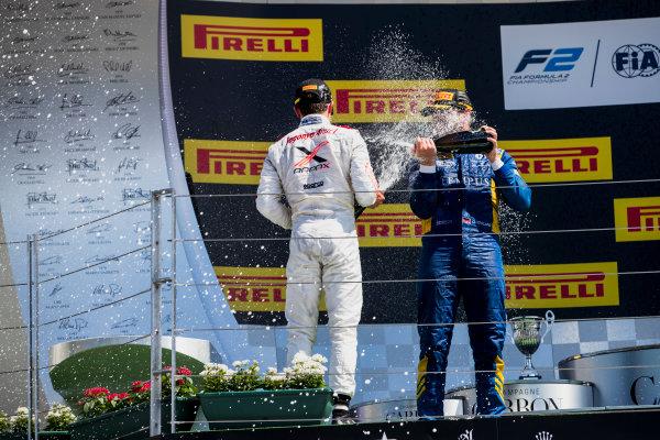 2017 FIA Formula 2 Round 7. Hungaroring, Budapest, Hungary. Sunday 30 July 2017. Oliver Rowland (GBR, DAMS), Nobuharu Matsushita (JPN, ART Grand Prix), Nyck De Vries (NED, Rapax).  Photo: Zak Mauger/FIA Formula 2. ref: Digital Image _54I4983