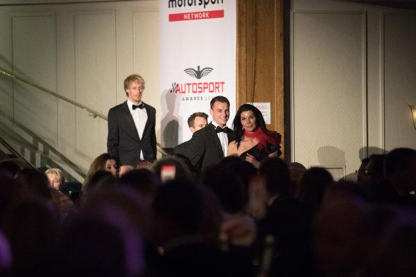 2017 Autosport Awards Grosvenor House Hotel, Park Lane, London. Sunday 3 December 2017. WEC Champions Brendon Hartley, Timo Bernhard and Earl Bamber arrive. World Copyright: Zak Mauger/LAT Images  ref: Digital Image _O3I6517