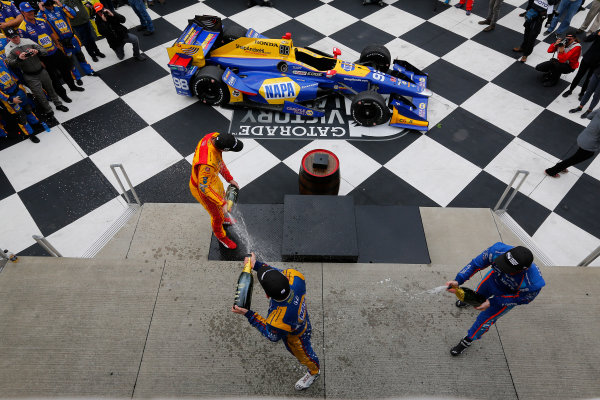 Verizon IndyCar Series IndyCar Grand Prix at the Glen Watkins Glen International, Watkins Glen, NY USA Sunday 3 September 2017 Alexander Rossi, Curb Andretti Herta Autosport with Curb-Agajanian Honda, Ryan Hunter-Reay, Andretti Autosport Honda, Scott Dixon, Chip Ganassi Racing Teams Honda celebrate with champagne in victory lane World Copyright: Phillip Abbott LAT Images ref: Digital Image abbott_wglen_0817_10711