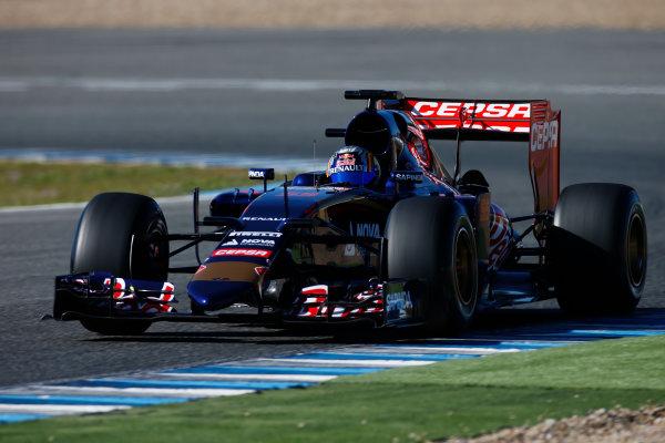 2015 F1 Pre Season Test 1 - Day 1 Circuito de Jerez, Jerez, Spain. Sunday 1 February 2015. Carlos Sainz Jr, Toro Rosso STR10 Renault. World Copyright: Glenn Dunbar/LAT Photographic. ref: Digital Image _W2Q7729