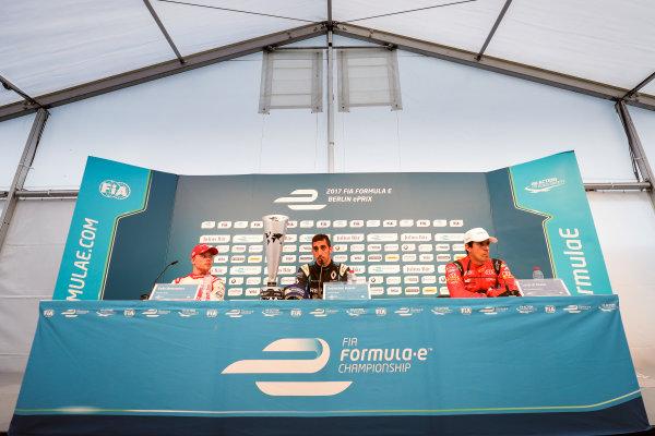 2016/2017 FIA Formula E Championship. Round 8 - Berlin ePrix, Tempelhof Airport, Berlin, Germany. Sunday 11 June 2017. Felix Rosenqvist (SWE), Mahindra Racing, Spark-Mahindra, Mahindra M3ELECTRO, Sebastien Buemi (SUI), Renault e.Dams, Spark-Renault, Renault Z.E 16, and Lucas Di Grassi (BRA), ABT Schaeffler Audi Sport, Spark-Abt Sportsline, ABT Schaeffler FE02, in the press conference. Photo: Zak Mauger/LAT/Formula E ref: Digital Image _54I9030