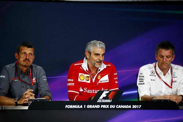Circuit Gilles Villeneuve, Montreal, Canada. Friday 09 June 2017. The Friday press conference. L-R: Guenther Steiner, Team Principal, Haas F1, Maurizio Arrivabene, Team Principal, Ferrari and James Allison, Technical Director, Mercedes AMG.  World Copyright: Andy Hone/LAT Images ref: Digital Image _ONY3744