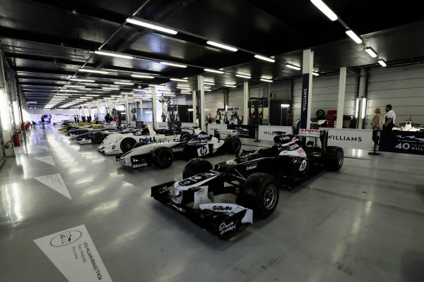 Williams 40 Event Silverstone, Northants, UK Friday 2 June 2017. A line-up of Williams cars, including the 1999 BMW Le Mans winner. The step-nosed 2012 FW34 is in the foreground. World Copyright: Zak Mauger/LAT Images ref: Digital Image _56I9387