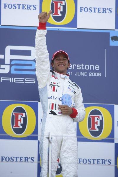 2006 GP2 Series Round 6. Silverstone, England. 11th June 2006. Sunday race. Lewis Hamilton (GBR, ART Grand Prix) race winner. Podium.  World Copyright: Andrew Ferraro/GP2 Series Media Service. Ref: Digital Image Only ZP9O7919