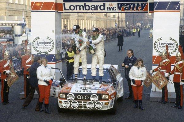 1983 World Rally Championship.Lombard RAC Rally, Great Britain. 19-23 November 1983.Stig Blomqvist/Bjorn Cederberg (Audi Quattro A2), 1st position. Podium.World Copyright: LAT PhotographicRef: 35mm transparency 83RALLY18