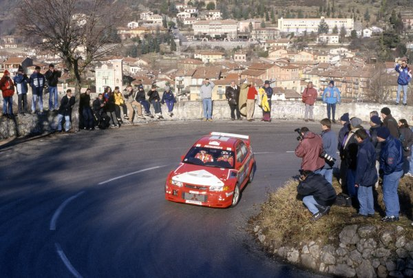 1999 World Rally Championship.Monte Carlo Rally, Monaco. 18-20 January 1999.Tommi Makinen/Risto Mannisenmaki (Mitsubishi Lancer Evo6), 1st position.World Copyright: McKlein/LAT PhotographicRef: 35mm transparency 99RALLY01