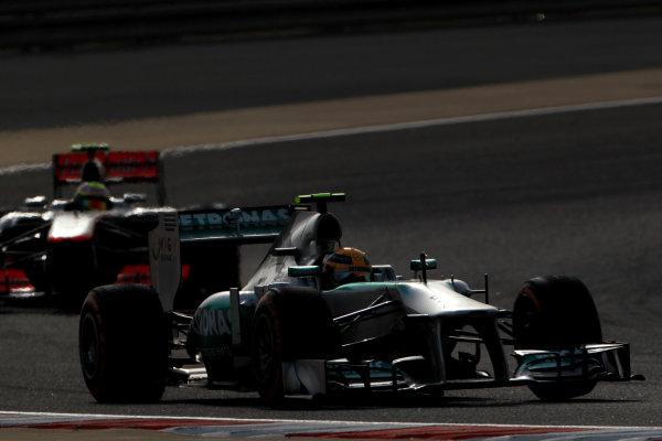 Bahrain International Circuit, Sakhir, Bahrain Sunday 21st April 2013 Lewis Hamilton, Mercedes W04.  World Copyright: Andy Hone/LAT Photographic ref: Digital Image HONY1618