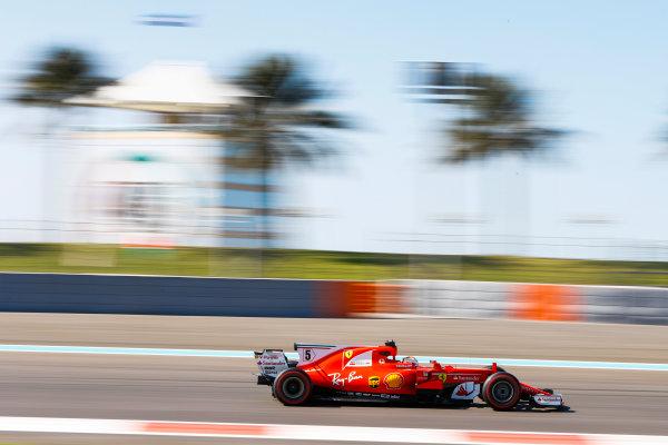 Yas Marina Circuit, Abu Dhabi, United Arab Emirates. Wednesday 29 November 2017. Sebastian Vettel, Ferrari SF70H. World Copyright: Joe Portlock/LAT Images  ref: Digital Image _R3I5030