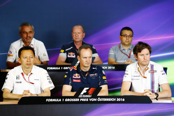 Red Bull Ring, Spielberg, Austria. Friday 01 July 2016. Yusuke Hasegawa, Senior Managing Officer, Honda, Beat Zehnder, Team Manager, Sauber, Paul Monaghan, Chief Engineer, Red Bull Racing, Graham Watson, Team Manager, Toro Rosso, Rob Smedley, Head of Vehicle Performance, Williams Martini Racing, and Luca Furbatto, Chief Designer, Manor F1, in the team principals Press Conference. World Copyright: Andy Hone/LAT Photographic ref: Digital Image _ONY4549
