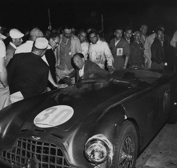 Sebring, Florida, USA. 8th March 1953. Rd 1 Reg Parnell/George Abecassis (Aston Martin DB3/5), 2nd position, portrait. World Copyright: LAT Photographic Ref:  B/W Print
