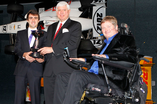 6 December, 2012, Indianapolis, Indiana USA Indy Lights champion Tristin Vautier with Al Speyer and Sam Schmidt.(c)2012, Russell LaBounty LAT Photo USA .