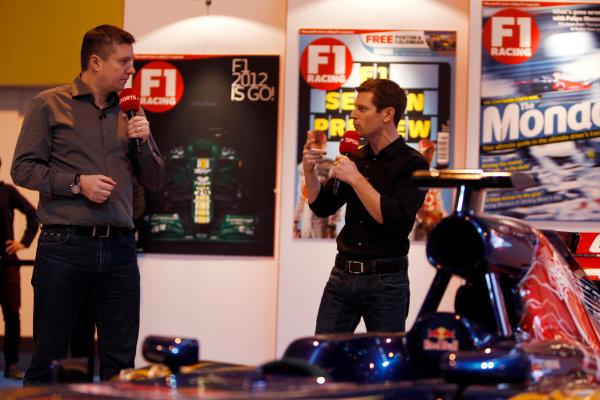 Autosport International Show NEC, Birmingham.  Saturday 12th January 2013. Anthony Davidson and David Croft on the F1 Racing display. World Copyright:Glenn Dunbar/LAT Photographic ref: Digital Image _G7C6319