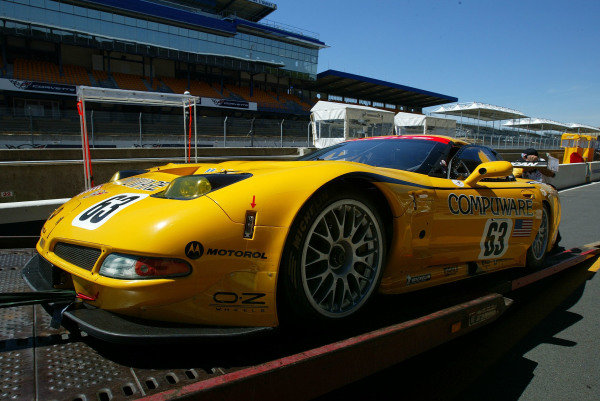 2004 Le Mans 24 HoursLe Mans, France. 8th June 2004The Chevrolet Corvette C5-R of Ron Fellows, Johnny O'Connell and Max Papis, arrives at the circuit.World Copyright: John Brooks/LAT Photographicref: Digital Image Only