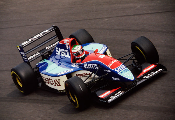 1993 Italian Grand Prix.Monza, Italy.10-12 September 1993.Marco Apicella (Jordan 193 Hart). He exited his Grand Prix debut after being hit on the first lap.Ref-93 ITA 05.World Copyright - LAT Photographic