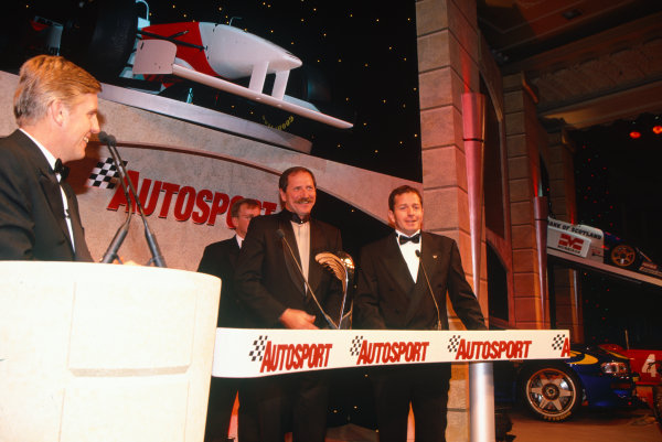 1996 Autosport Awards. Grosvenor House Hotel, London. 1st December 1996. Martin Brundle and Dale Earnhardt on the main stage, portrait.  World Copyright: LAT Photographic. Ref:  Colour Transparency.