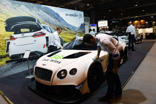 Autosport International Exhibition. National Exhibition Centre, Birmingham, UK. Friday 13 January 2017. A Bentley is cleaned on the M-Sport stand. World Copyright: Sam Bagnall/LAT Photographic. Ref: DSC_2686