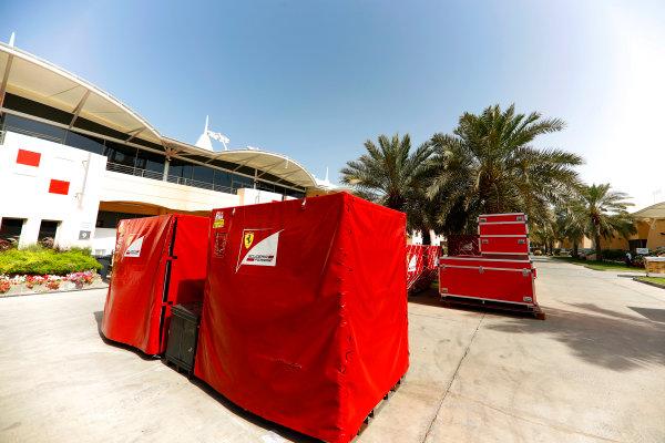 Bahrain International Circuit, Sakhir, Bahrain.  Tuesday 18 April 2017. Ferrari frieght in the paddock. World Copyright: Glenn Dunbar/LAT Images ref: Digital Image _X4I1861