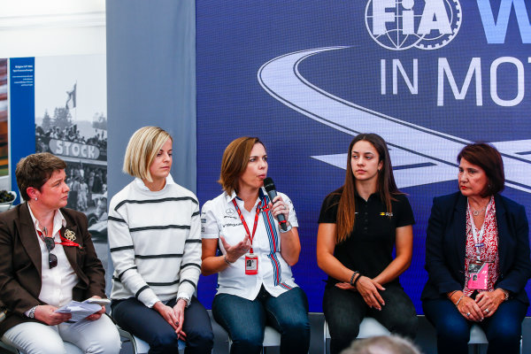 Monte Carlo, Monaco. Saturday 27 May 2017. Susie Wolff, Claire Williams, Deputy Team Principal, Williams Martini Racing, Marta Garcia, Renault Sport Academy, and Michelle Mouton, at a Women in Motorsport Press Conference. World Copyright: Andy Hone/LAT Images ref: Digital Image _ONZ0393