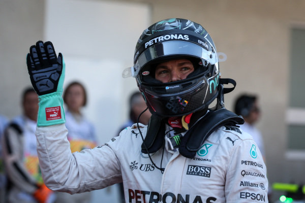 Nico Rosberg (GER) Mercedes AMG F1 celebrates in parc ferme at Formula One World Championship, Rd19, Mexican Grand Prix, Qualifying, Circuit Hermanos Rodriguez, Mexico City, Mexico, Saturday 29 October 2016.