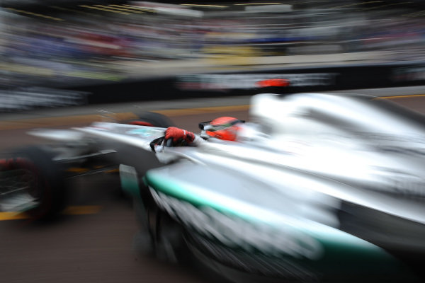 Michael Schumacher, Mercedes F1 W03, leaves the pit garage.