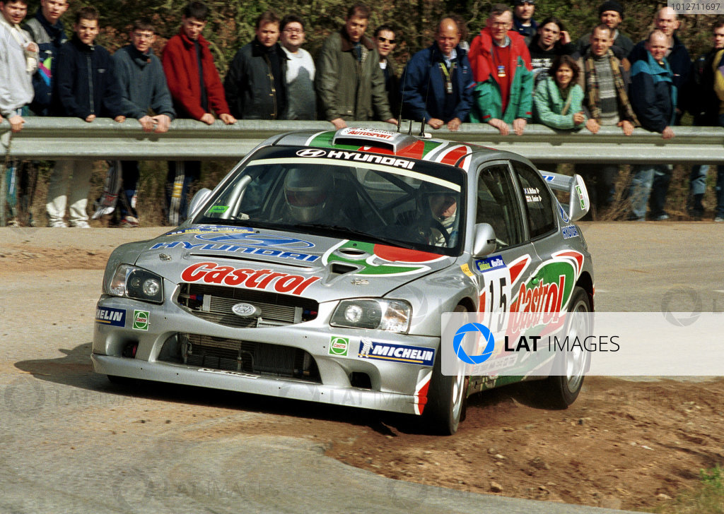 Alister McRae in action in the Hyundai Accent WRC.