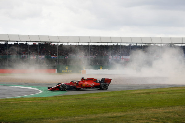 Sebastian Vettel, Ferrari SF90 after running into the back of Max Verstappen, Red Bull Racing RB15