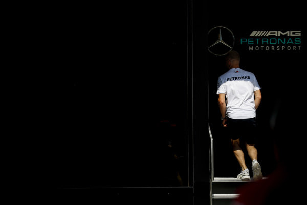 Valtteri Bottas, Mercedes AMG F1 walks into Mercedes AMG F1 hsopitality
