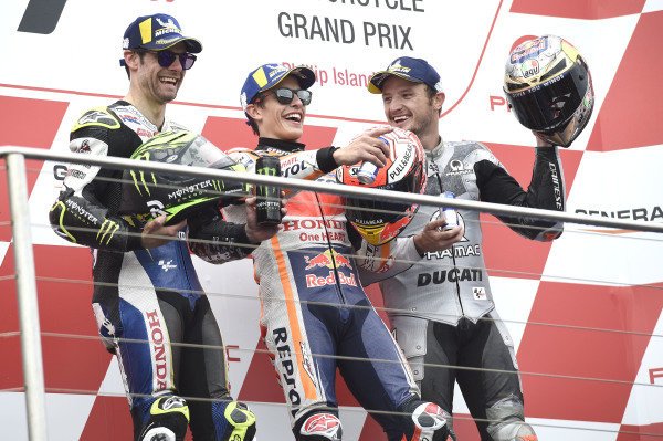 Podium: race winner Marc Marquez, Repsol Honda Team, second place Cal Crutchlow, Team LCR Honda, third place Jack Miller, Pramac Racing