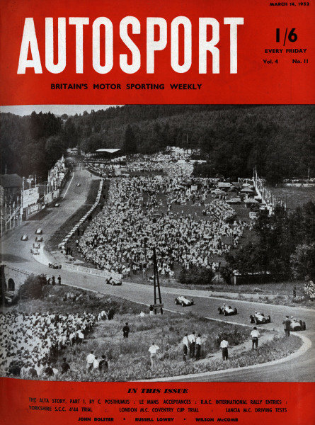 Cover of Autosport magazine, 14th March 1952