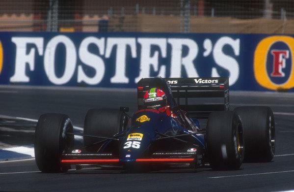 1991 Australian Grand Prix.Adelaide, Australia.1-3 November 1991.Eric van de Poele (Lamborghini 291). He failed to qualify.Ref-91 AUS 33.World Copyright - LAT Photographic