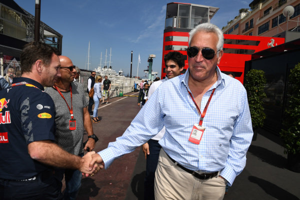 Lawrence Stroll (CDN) Mont Tremblant Race Circuit Owner and Christian Horner (GBR) Red Bull Racing Team Principal at Formula One World Championship, Rd6, Monaco Grand Prix, Qualifying, Monte-Carlo, Monaco, Saturday 28 May 2016.