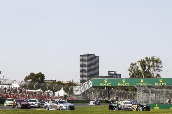Nick Percat, Brad Jones Racing, Holden, leads Todd Hazelwood, Matt Stone Racing, Holden
