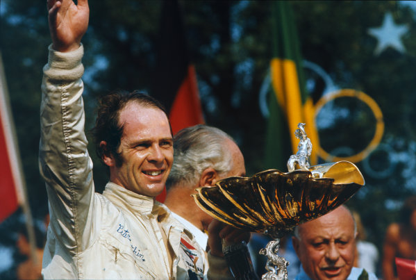 Monza, Italy. 3rd - 5th September 1971.Peter Gethin (BRM P160), 1st position, on the podium with the trophy. 