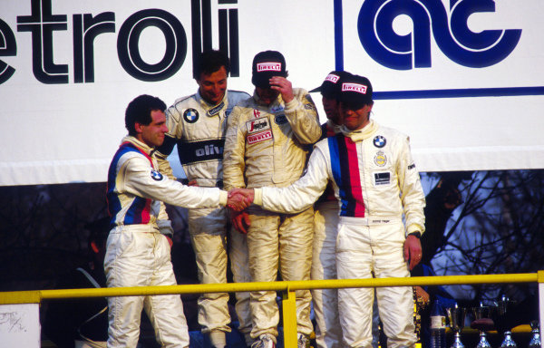 (L to R): 2nd place, Roland Ratzenberger (AUT) BMW M Team, winners, Riccardo Patrese (ITA) BMW M Team, Johnny Cecotto (VEN) and 3rd place drivers Markus Oesteich (GER) and Alfred Heger (GER) BMW MTeam.European Touring Car Championship, Monza, Italy, 22 March 1987.